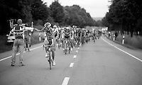 Björn Leukemans (BEL) snatching his musette<br /> <br /> 2013 Tour of Luxemburg<br /> stage 1: Luxembourg - Hautcharage (184km)