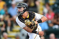 Bradenton Marauders catcher Reese McGuire (7) throws down to second during a game against the St. Lucie Mets on April 11, 2015 at McKechnie Field in Bradenton, Florida.  St. Lucie defeated Bradenton 3-2.  (Mike Janes/Four Seam Images)