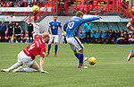Hamilton Accies v St Johnstone….18.05.19      New Douglas Park        SPFL<br />David Wotherspoon's shot is saved<br />Picture by Graeme Hart. <br />Copyright Perthshire Picture Agency<br />Tel: 01738 623350  Mobile: 07990 594431