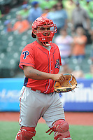 Williamsport Crosscutters catcher Deivi Grullon (29) during game against the Brooklyn Cyclones at MCU Park on July 21, 2014 in Brooklyn, NY.  Brooklyn defeated Williamsport  5-2.  (Tomasso DeRosa/Four Seam Images)