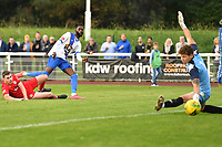 Muhammadu Faal of Enfield Town scores the equaliser and celebratesduring Enfield Town vs Worthing, Pitching In Isthmian League Premier Division Football at the Queen Elizabeth II Stadium on 16th October 2021
