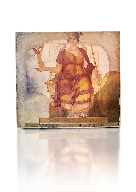 """Fresco of Venus sitting restored as Roma  known as the """"Dea Barberini"""" (""""Barberini goddess""""), dating from the first quarter of the fourth century. A.D, excavated near to Baptistery of St. John Lateran , Rome Museo Nazionale Romano ( National Roman Museum), Rome, Italy. Against a white background."""