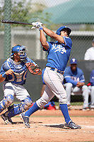 Fernando Cruz of the Kansas City Royals  plays in minor league spring training game against the Texas Rangers at the Rangers minor league complex on March 22, 2011  in Surprise, Arizona. .Photo by:  Bill Mitchell/Four Seam Images.