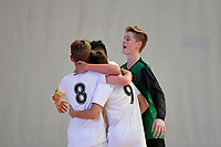 Isaac Bates of Hamilton Boys' High School celebrates with team mates during the Futsal NZ Secondary Schools Junior Boys Final between Hamilton Boys High School and Selwyn College at ASB Sports Centre, Wellington on 26 March 2021.<br /> Copyright photo: Masanori Udagawa /  www.photosport.nz
