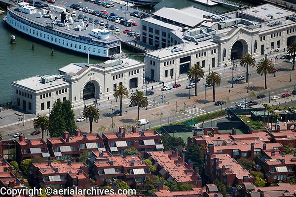 aerial photograph of Pier 3 and Pier 5, San Francisco, California