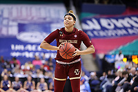 GREENSBORO, NC - MARCH 06: Makayla Dickens #10 of Boston College holds the ball during a game between Boston College and Duke at Greensboro Coliseum on March 06, 2020 in Greensboro, North Carolina.