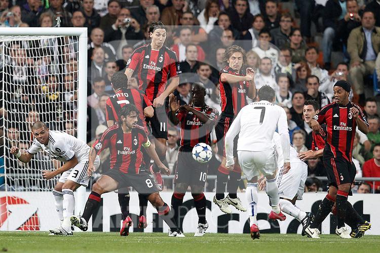 Real Madrid's Cristiano Ronaldo scores during champions league match ..Photo: Cesar Cebolla  / ALFAQUI