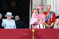 Queen, Princess Charlotte, Catherine Duchess of Cambridge, Prince William and Prince George<br /> on the balcony of Buckingham Palace during Trooping the Colour on The Mall, London. <br /> <br /> <br /> ©Ash Knotek  D3283  17/06/2017