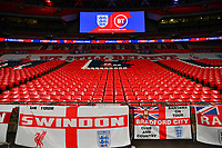 25th March 2021; Wembley Stadium, London, England;  General view inside Wembley stadium with Come on England slogan and England flags during the World Cup 2022 Qualification match between England and San Marino at Wembley Stadium in London, England.