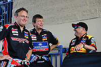 Jul, 10, 2011; Joliet, IL, USA: NHRA top fuel dragster driver Doug Kalitta (left), David Grubnic (center) with funny car driver Jeff Arend during the Route 66 Nationals at Route 66 Raceway. Mandatory Credit: Mark J. Rebilas-