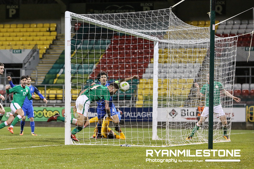 Republic of Ireland's Shaun Donnellan scores the winning goal in injury time during the 2019 UEFA Under 21 European Qualifying Round between the Republic of Ireland and Azerbaijan on Tuesday 27th March 2018 at Tallaght Stadium, Dublin. Photo By Michael P Ryan