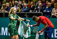 Rotterdam, The Netherlands, 16 Februari 2020, ABNAMRO World Tennis Tournament, Ahoy,<br /> Mens Single Final: Gaël Monfils (FRA) gets the balls and towel from a ballgirl<br /> Photo: www.tennisimages.com