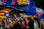 Supporters of FC Barcelona wave their team's flag and show their supports to their team during the La Liga 2017-18 match between FC Barcelona and Malaga CF at Camp Nou on 21 October 2017 in Barcelona, Spain. Photo by Vicens Gimenez / Power Sport Images