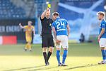 20.02.2021, xtgx, Fussball 3. Liga, FC Hansa Rostock - SV Waldhof Mannheim, v.l. Jan Loehmannsroeben (Hansa Rostock, 24) Gelbe Karte, yellow card, hat sich verletzt, Verletzung, Oberschenkel<br /> <br /> (DFL/DFB REGULATIONS PROHIBIT ANY USE OF PHOTOGRAPHS as IMAGE SEQUENCES and/or QUASI-VIDEO)<br /> <br /> Foto © PIX-Sportfotos *** Foto ist honorarpflichtig! *** Auf Anfrage in hoeherer Qualitaet/Aufloesung. Belegexemplar erbeten. Veroeffentlichung ausschliesslich fuer journalistisch-publizistische Zwecke. For editorial use only.