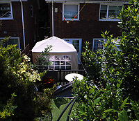 Tuesday 20 June 2017<br /> Pictured: What is believed to be an inflatable pool or a hot tub under a gazebo  in the rear garden of Darren Osborne's house in the Pentwyn area of  Cardiff, Wales, UK<br /> Re: The man who drove the vehicle which drove into worshippers near a north London mosque has been named as Darren Osborne from Cardiff, South Wales