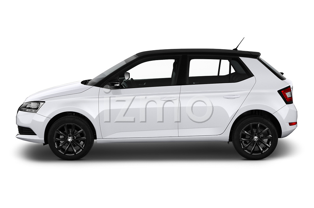 Car driver side profile view of a 2019 Skoda Fabia Ambition 5 Door Hatchback