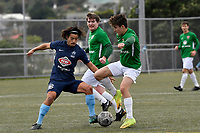 Jonty Roubos of the Wairarapa United competes for the ball with Gavin Hoy of the North Wellington FC during the Central League Football -  North Wellington FC v Wairarapa United at Alex Moore Park ( Alex Moore Artificial), Johnsonville, New Zealand on Saturday 29 May 2021.<br /> Copyright photo: Masanori Udagawa /  www.photosport.nz