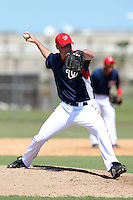 Washington Nationals pitcher Brian Dupra #24 during an Instructional League game against the national team from Italy at Carl Barger Training Complex on September 28, 2011 in Viera, Florida.  (Mike Janes/Four Seam Images)