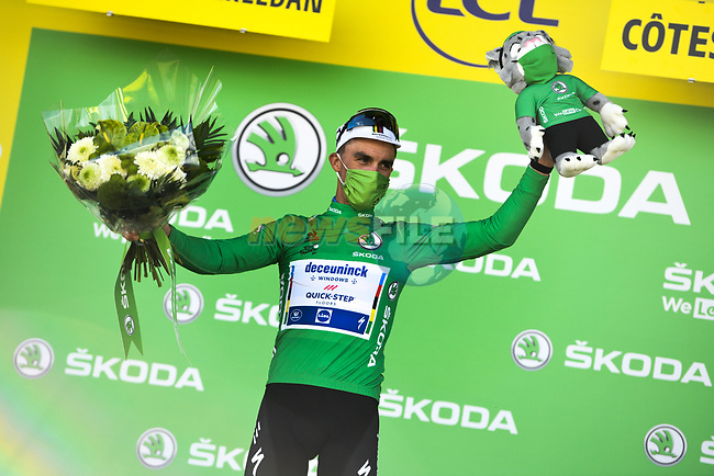 Julian Alaphilippe (FRA) Deceuninck-Quick Step retains the points Green Jersey at the end of Stage 2 of the 2021 Tour de France, running 183.5km from Perros-Guirec to Mur-de-Bretagne Guerledan, France. 27th June 2021.  <br /> Picture: A.S.O./Charly Lopez | Cyclefile<br /> <br /> All photos usage must carry mandatory copyright credit (© Cyclefile | A.S.O./Charly Lopez)