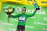 Julian Alaphilippe (FRA) Deceuninck-Quick Step retains the points Green Jersey at the end of Stage 2 of the 2021 Tour de France, running 183.5km from Perros-Guirec to Mur-de-Bretagne Guerledan, France. 27th June 2021.  <br /> Picture: A.S.O./Charly Lopez   Cyclefile<br /> <br /> All photos usage must carry mandatory copyright credit (© Cyclefile   A.S.O./Charly Lopez)