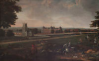 An early 18th century painting of a hunting party near Euston Hall. The distinctive domes on the four pavillions built in the 1660s were replaced in the 1750s by the second duke with pyramid roofs when he remodelled the house