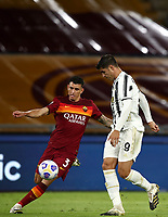 Football, Serie A: AS Roma - Juventus, Olympic stadium, Rome, September 27, 2020. <br /> Roma's Roger Ibanez (l) in action with Juventus' Alvaro Morata (r) during the Italian Serie A football match between Roma and Juventus at Olympic stadium in Rome, on September 27, 2020. <br /> UPDATE IMAGES PRESS/Isabella Bonotto