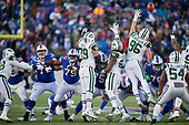 New York Jets Brent Qvale (79), Leonard Williams (92), and Henry Anderson (96) attempt to block a field goal attempt during an NFL football game against the Buffalo Bills, Sunday, December 9, 2018, in Orchard Park, N.Y.  Bills lineman Ryan Groy (72), Jordan Mills (79), Wyatt Teller (75), and John Miller (76).  (Mike Janes Photography)