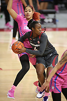 Erynnn Barnum, with the University of Arkansas Razorback Women's basketball team, looks to pass out of the lane against the University of University of Mississippi Friday, February 19, 2021, at Bud Walton Arena on the campus of the University in Fayetteville. Check out nwaonline.com/210220Daily/ and nwadg.com/photos for a photo gallery.<br /> (NWA Democrat-Gazette/David Gottschalk)