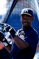 Marquis Grissom of the Milwaukee Brewers participates in a Major League Baseball game at Dodger Stadium during the 1998 season in Los Angeles, California. (Larry Goren/Four Seam Images)