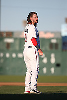 Brendan Rodgers (1) of the Lancaster JetHawks during a game against the Lake Elsinore Storm at The Hanger on June 12, 2017 in Lancaster, California. Lancaster defeated Lake Elsinore, 13-6. (Larry Goren/Four Seam Images)