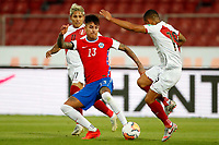 13th November 2020; National Stadium of Santiago, Santiago, Chile; World Cup 2020 Football qualification, Chile versus Peru;  Erick Pulgar of Chile and Yoshimar Yotún of Peru