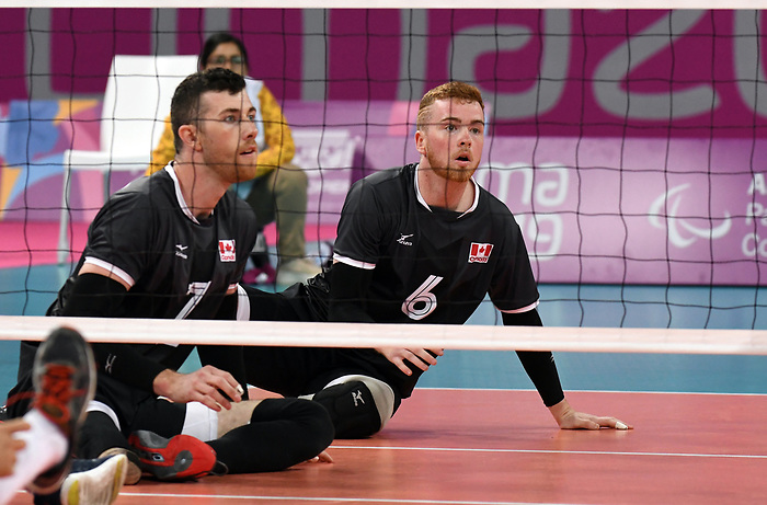 Bryce Foster and Doug Learoyd, Lima 2019 - Sitting Volleyball // Volleyball assis.<br /> Canada competes in men's Sitting Volleyball // Canada participe au volleyball assis masculin. 24/08/2019.