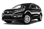 Stock pictures of low aggressive front three quarter view of 2015 Honda CR-V Elegance 5 Door SUV Low Aggressive
