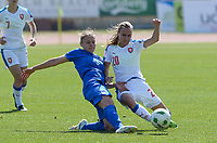 20180307 - LARNACA , CYPRUS :  Slovakian Valentina Susolova (left) pictured in a duel with Czech Pavlina Nepokojova (r) during a women's soccer game between  Slovakia and the Czech Republic , on Wednesday 7 March 2018 at the GSZ Stadium in Larnaca , Cyprus . This is the final game in a decision for 9 th or 10 th place of the Cyprus Womens Cup , a prestigious women soccer tournament as a preparation on the World Cup 2019 qualification duels. PHOTO SPORTPIX.BE   DAVID CATRY