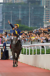 SHA TIN,HONG KONG-MAY 01: Chautauqua ,ridden by Tommy Berry , is cerebrated by many fans after winning the Chairman's Sprint Prize  at Sha Tin Racecourse on May 01,2016 in Sha Tin,New Territories,Hong Kong (Photo by Kaz Ishida/Eclipse Sportswire/Getty Images)
