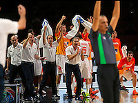 Spain's national basketball team player and head coach Sergio Scariolo (C) celebrate during European championship semi-final basketball match between France and Spain on September 17, 2015 in Lille, France  (credit image & photo: Pedja Milosavljevic / STARSPORT)