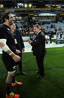 From left, All Blacks captain Sam Whitelock, former All Blacks captain Kieran Read and All Blacks coach Ian Foster are all smiles after the Bledisloe Cup rugby match between the New Zealand All Blacks and Australia Wallabies at Eden Park in Auckland, New Zealand on Saturday, 7 August 2021. Photo: Dave Lintott / lintottphoto.co.nz