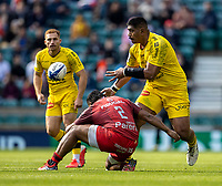 22nd May 2021; Twickenham, London, England; European Rugby Champions Cup Final, La Rochelle versus Toulouse; Victor Vito of La Rochelle is tackled by Peato Mauvaka of Toulouse