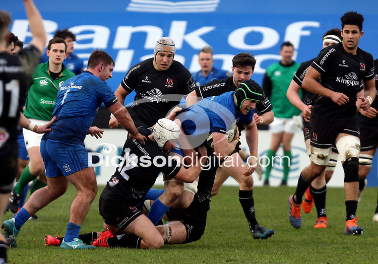 15 January 2021; Ryan Baird is tackled by Bill Johnston and Ben Carson during the A Interprovincial match between Ulster and Leinster at Kingspan Stadium in Belfast. Photo by John Dickson/Dicksondigital