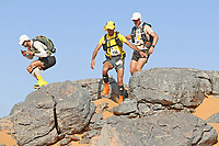 4th October 2021; Tisserdimine to Kourci Dial Zaid;  Marathon des Sables, stage 2 of  a six-day, 251 km ultramarathon, which is approximately the distance of six regular marathons. The longest single stage is 91 km long. This multiday race is held every year in southern Morocco, in the Sahara Desert. Philippe Inda (FRA) descends the rocky section