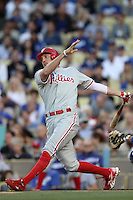 Hunter Pence #3 of the Philadelphia Phillies bats against the Los Angeles Dodgers at Dodger Stadium on July 16, 2012 in Los Angeles, California. Philadelphia defeated Los Angeles 3-2. (Larry Goren/Four Seam Images)