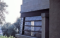 Frank Lloyd Wright:  Detail of corner window treatment, Hollyhock House.  Photo May 1982.