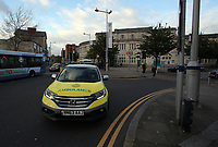 Pictured: An ambulance by the railway station. Friday 28 April 2017<br />
