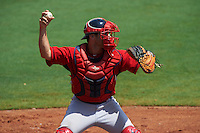 GCL Red Sox outfielder Tyler Spoon (41) throws down to second during the first game of a doubleheader against the GCL Rays on August 4, 2015 at Charlotte Sports Park in Port Charlotte, Florida.  GCL Red Sox defeated the GCL Rays 10-2.  (Mike Janes/Four Seam Images)