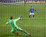 Rangers v St Johnstone…25.04.21   Ibrox.  Scottish Cup<br />Zander Clark saves James Tavernier's penalty in the shoot out.<br />Picture by Graeme Hart.<br />Copyright Perthshire Picture Agency<br />Tel: 01738 623350  Mobile: 07990 594431