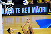 Aliyah Dunn shoots for goal during the ANZ Premiership netball match between Central Pulse and Northern Mystics at TSB Bank Arena in Wellington, New Zealand on Monday, 10 May 2021. Photo: Dave Lintott / lintottphoto.co.nz