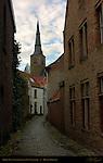 Street Scene: Korte Sint-Annastraat and Sint-Annakerk, Bruges, Brugge, Belgium