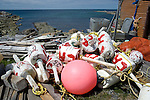 Lobster and crab trap buoys, Western Harbour, Newfoundland, Canada