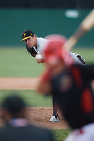 West Virginia Black Bears starting pitcher Ike Schlabach (28) follows through on a pitch during a game against the Batavia Muckdogs on June 25, 2017 at Dwyer Stadium in Batavia, New York.  Batavia defeated West Virginia 4-1 in nine innings of a scheduled seven inning game.  (Mike Janes/Four Seam Images)