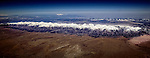 Panoramic aerial view of Rocky Mountains and Great Sand Dunes National Park near Alamosa, Colorado